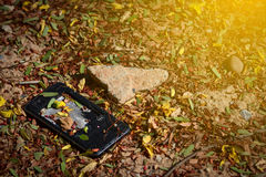 Broken cell on the ground. Royalty Free Stock Photos