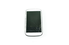 Broken Cell Phone. Isolate on White Background royalty free stock photos