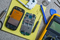 Broken cell phone repair stock images