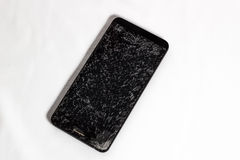 Broken cell phone screen. On white background stock images