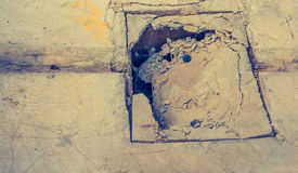 broken cement manhole lid . Royalty Free Stock Photography