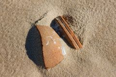 Broken ceramic pot on sand Royalty Free Stock Image