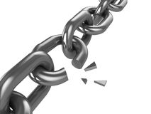 Broken chain. 3d illustration of broken chain isolated over white background stock illustration