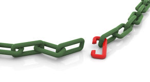 Broken chain. 3d render of conceptual broken chain stock illustration