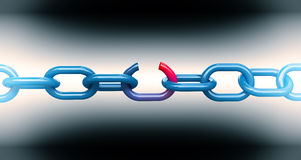 Broken chain. 3d image of blue broken chain vector illustration