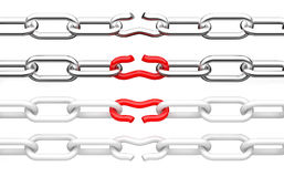 Broken chain. 3d illustration isolated Royalty Free Stock Photos