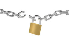 Broken chain. 3D illustration of a broken chain with padlock on white background Stock Photo
