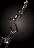 Broken chain. Broken silver chain on black background stock illustration