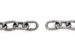 Broken chain, concept of teamwork. Broken chain with white background stock image