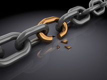 Broken chain. 3d illustration of broken chain, over black background Royalty Free Stock Images