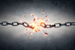 Broken Chain - Freedom And Separation. Concept Stock Image