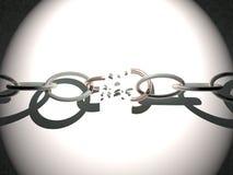 Broken chain. Illuminated, 3d render, horizontal image Royalty Free Stock Image