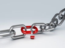 Broken chain. Image of silver break chain 3d illustration Stock Images