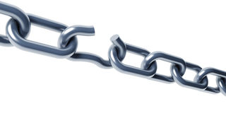 Broken chain isolated 3d. Rendering royalty free illustration