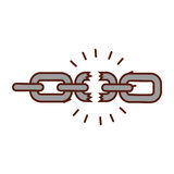 Broken chain isolated icon Royalty Free Stock Images