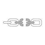 Broken chain isolated icon Stock Images