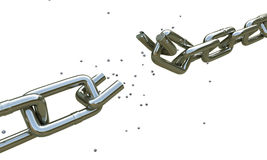 Broken chain. Isolated on white background vector illustration