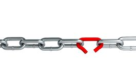 Broken chain link. Chain on a white background vector illustration