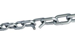 Broken chain link chain Royalty Free Stock Image