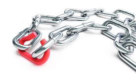 Broken chain link chain. On a white background Royalty Free Stock Photography
