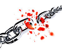 Broken chain. Broken link in the chain, connection concept. 3d illustration stock illustration