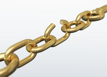 Broken chain link. 3D render royalty free illustration