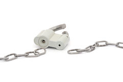 Broken chain and lock Stock Image