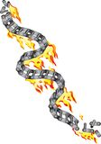 Broken chain of a motorcycle in flames Stock Photography