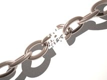 Broken chain. Over white background, 3d render, horizontal image Royalty Free Stock Images