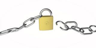 A broken chain and padlock still locked Stock Photography