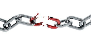 Broken chain part. Chain with broken red part isolated on white background royalty free illustration