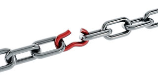 Broken chain part Royalty Free Stock Photo