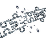 Broken Chain Puzzle. Business concept as metal links shaped as jigsaw puzzle pieces breaking apart exploding shards of chrome as a metaphor for breaking free royalty free illustration