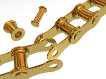 Broken chain and separate link. On white background Royalty Free Stock Photos