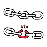 Broken chain, weak link. Stong and broken chain illustration, weak link concept. Isolated vector icon vector illustration