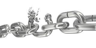 Broken chain on white 3D render. Broken chain on white background 3D render Royalty Free Stock Images