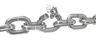 Broken chain on white 3D render. Broken chain on white background 3D render Stock Image