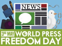 Broken Chains, Dove and Mass Media for Press Freedom Day, Vector Illustration. Microphone, camera, fountain pen, newspaper, dove, broken chain and barbed wire stock illustration