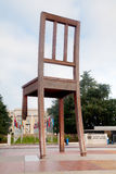 Broken Chair monument near United Nations palace in Geneva Stock Photo