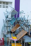 A broken chair remains to be unavailable. royalty free stock photography