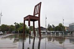 Broken Chair Sculpture in Geneva Stock Photos