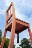 Broken Chair wood sculpture in Geneva Stock Image