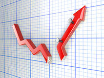 Broken chart concept Stock Photo