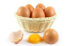 Broken chicken eggs and eggs in the basket Royalty Free Stock Photo