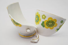 Broken China. Broken pieces of a fine china cup Stock Photos