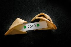 Broken chinese fortune cookie with 2019 on the paper slip on a dark background with copy space, new year concept, high angle view stock photos
