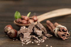 Broken chocolate bar, hazelnut and cinnamon on wooden background Stock Photography