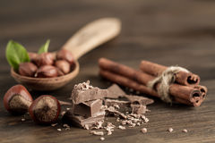 Broken chocolate bar, hazelnut and cinnamon on wooden background Royalty Free Stock Photos