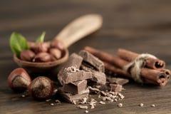 Broken chocolate bar, hazelnut and cinnamon on wooden background Royalty Free Stock Photography