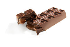 Broken chocolate candybar with caramel stuffing Royalty Free Stock Photography